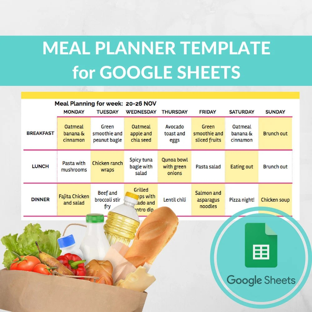 Meal Planner Template Spreadsheet Grocery Planning Excel Etsy
