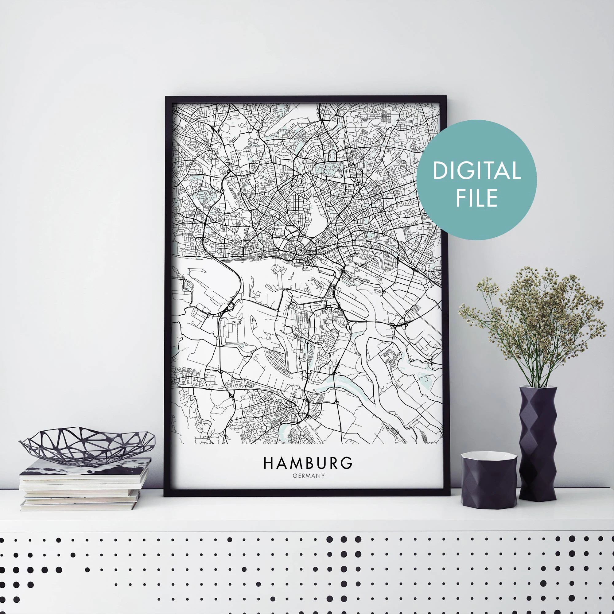 Home Office Hamburg Hamburg Germany City Map Print Wall Art Print At Home Digital Download File