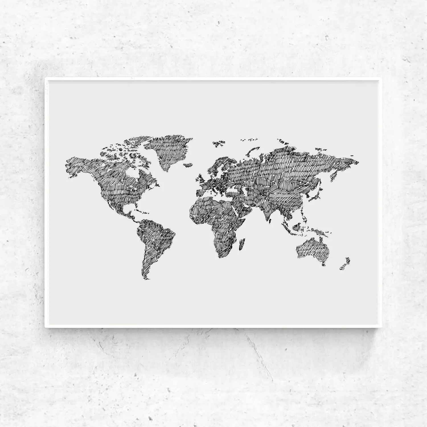 World Map art print printable world map large print black Etsy - Black And Grey World Map