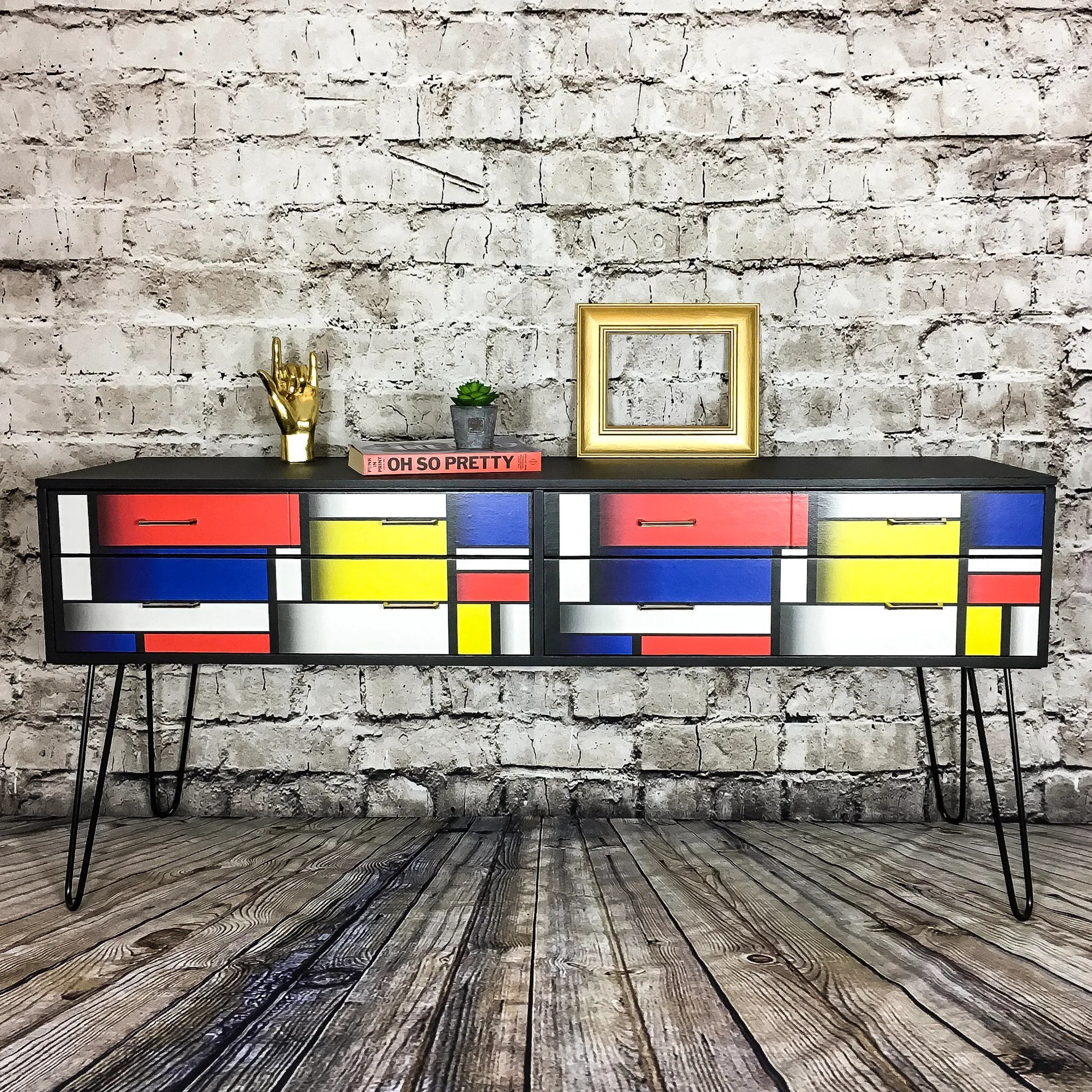 Vintage Sideboard Hairpin Legs Upcycled Vintage Sideboard Upcycled Furniture Tv Stand Retro Sideboard Geometric Mondrian Painted Sideboard Mid Century Hairpin Legs