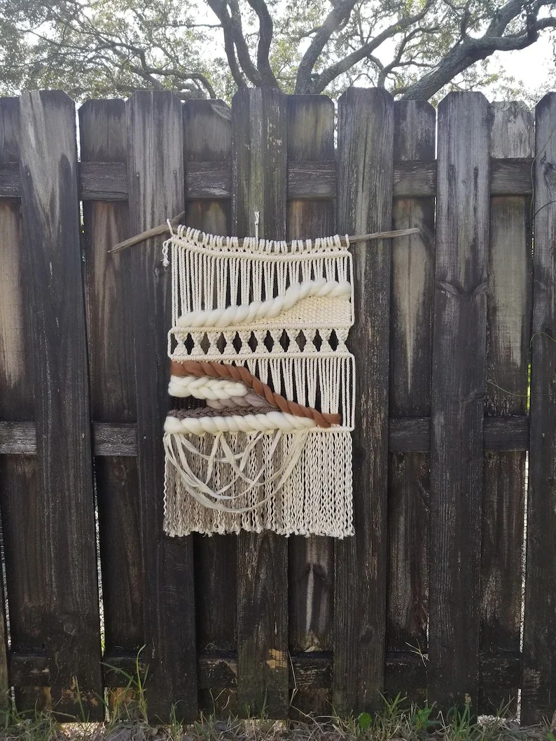 Modern Farmhouse Fence Modern Macrame Wall Hanging Neutral Home Decor Farmhouse Decor Woven Wall Hanging Bedroom Decor Cottage Chic Modern Farmhouse