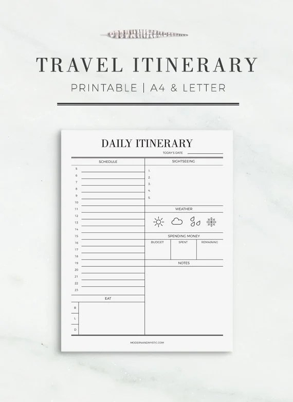 Travel Itinerary Printable Printable Travel Schedule Etsy