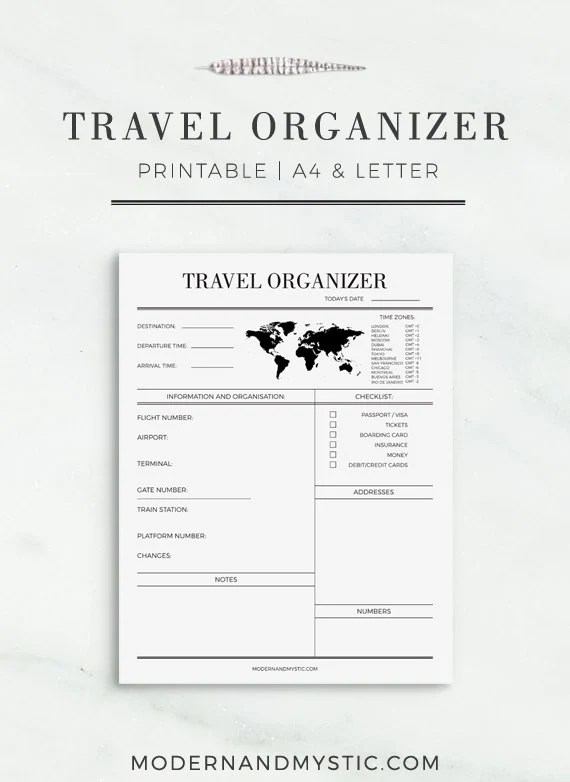 Travel Organizer Printable Journey Planner Travel Planner Trip