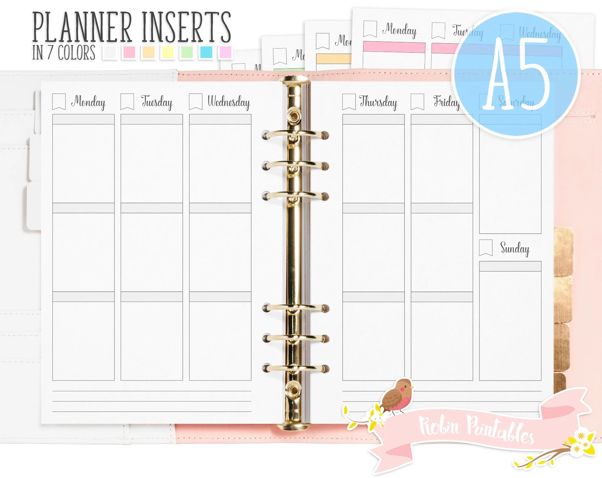 A5 Weekly Planner Printable Binder Inserts Fits Organizers Etsy