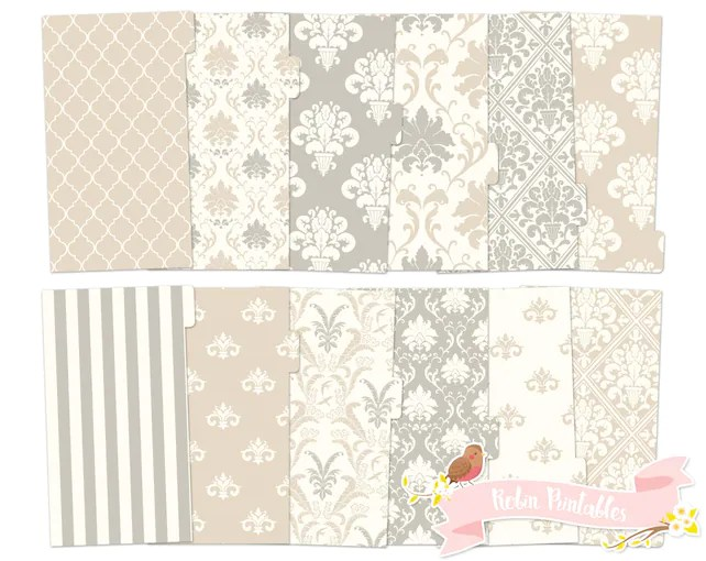 Neutral Damask Printable Planner Divider Tabs / Cream Dashboard fits