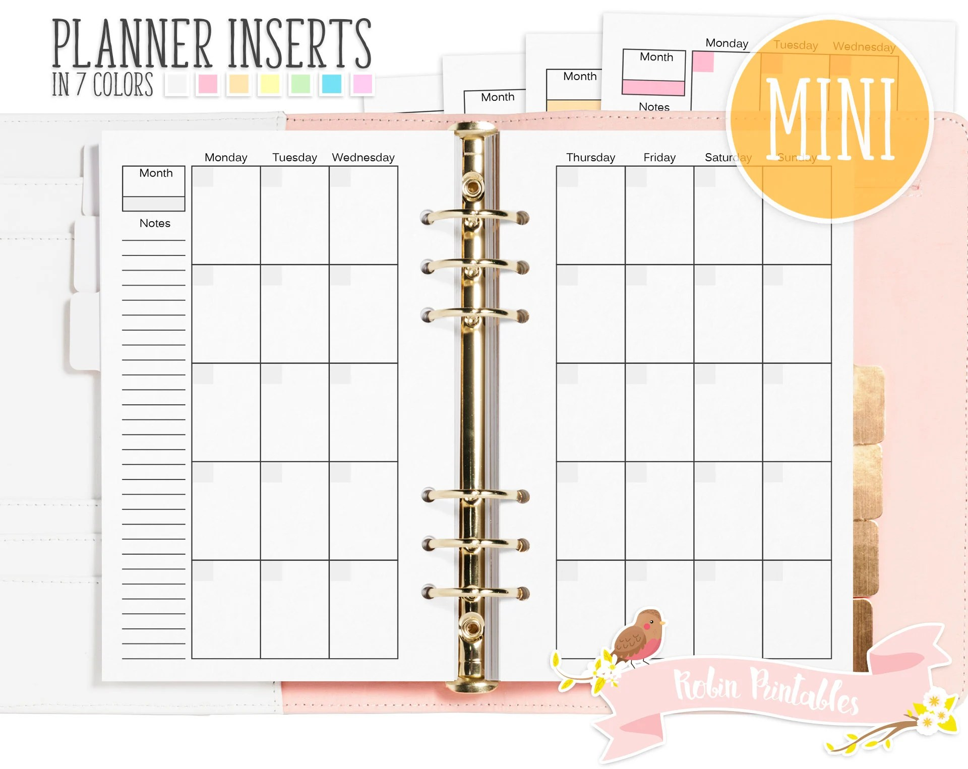 Mini Monthly Organizer Printable Binder Inserts Fits Planners Like