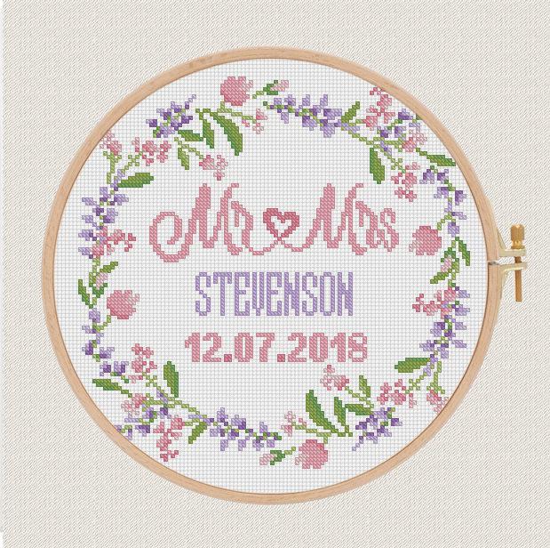 Flowers wedding cross stitch pattern modern lavender Etsy