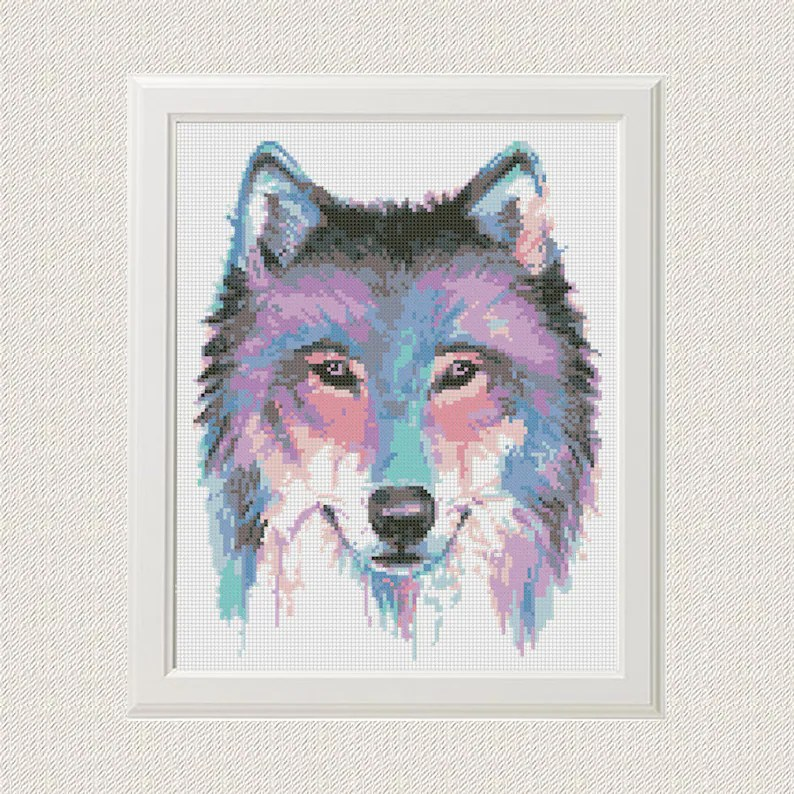 Wolf Cross Stitch Pattern Watercolor Animal Dog Husky Printable PDF Digital  Embroidery Animals Cute Modern Funny Wall art Decor gift idea