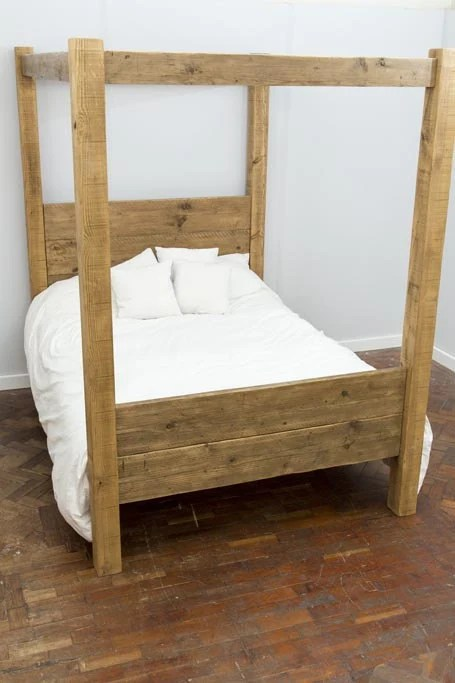 Single Four Poster Bed Hofgi Handmade Reclaimed Wood Four Poster Bed Custom Made To Order