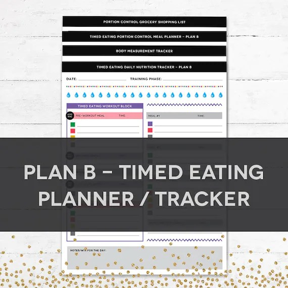 Timed Eating Planner  Tracker PLAN B Etsy - nutrition tracker