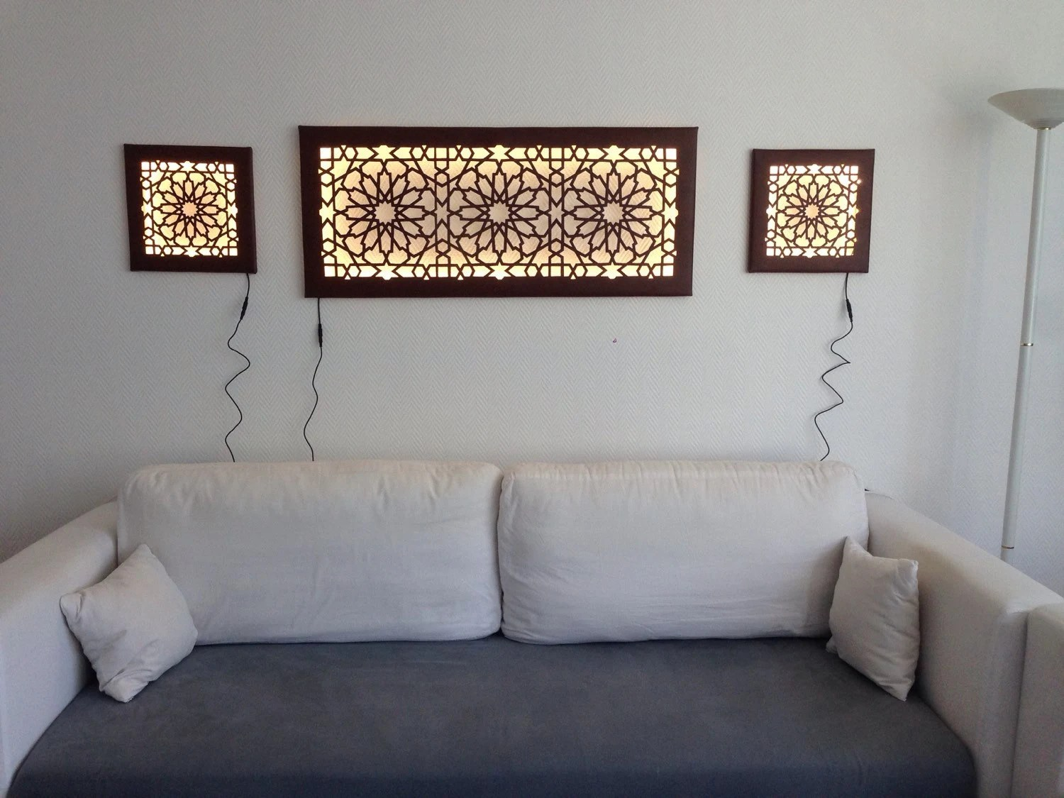 Led Wanddeko Led Wanddeko Wall Mural With Islamic Oriental Pattern Faux Leather Wall Light