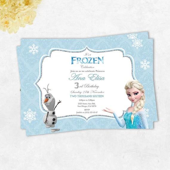 Frozen Elsa and Olaf Printable Birthday Card Frozen Etsy