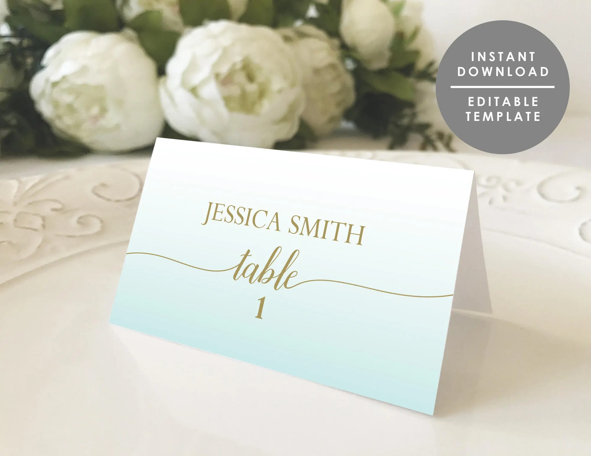 Place Card Template Guest Name card folded place card beach Etsy