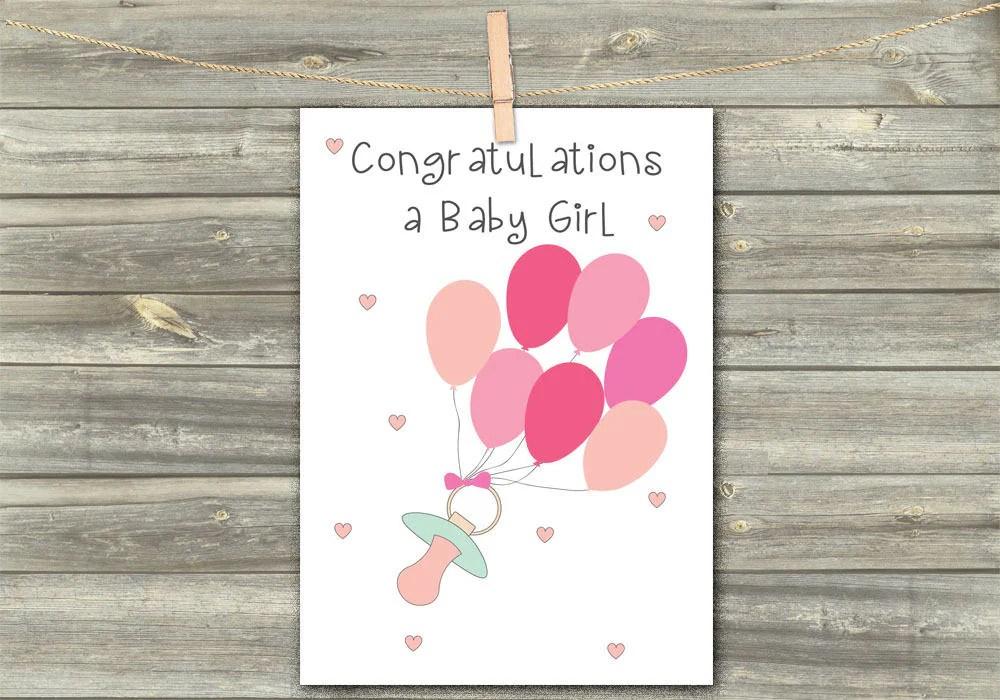 Baby Congratulations Digital Card Greeting Cards Baby Girl Etsy