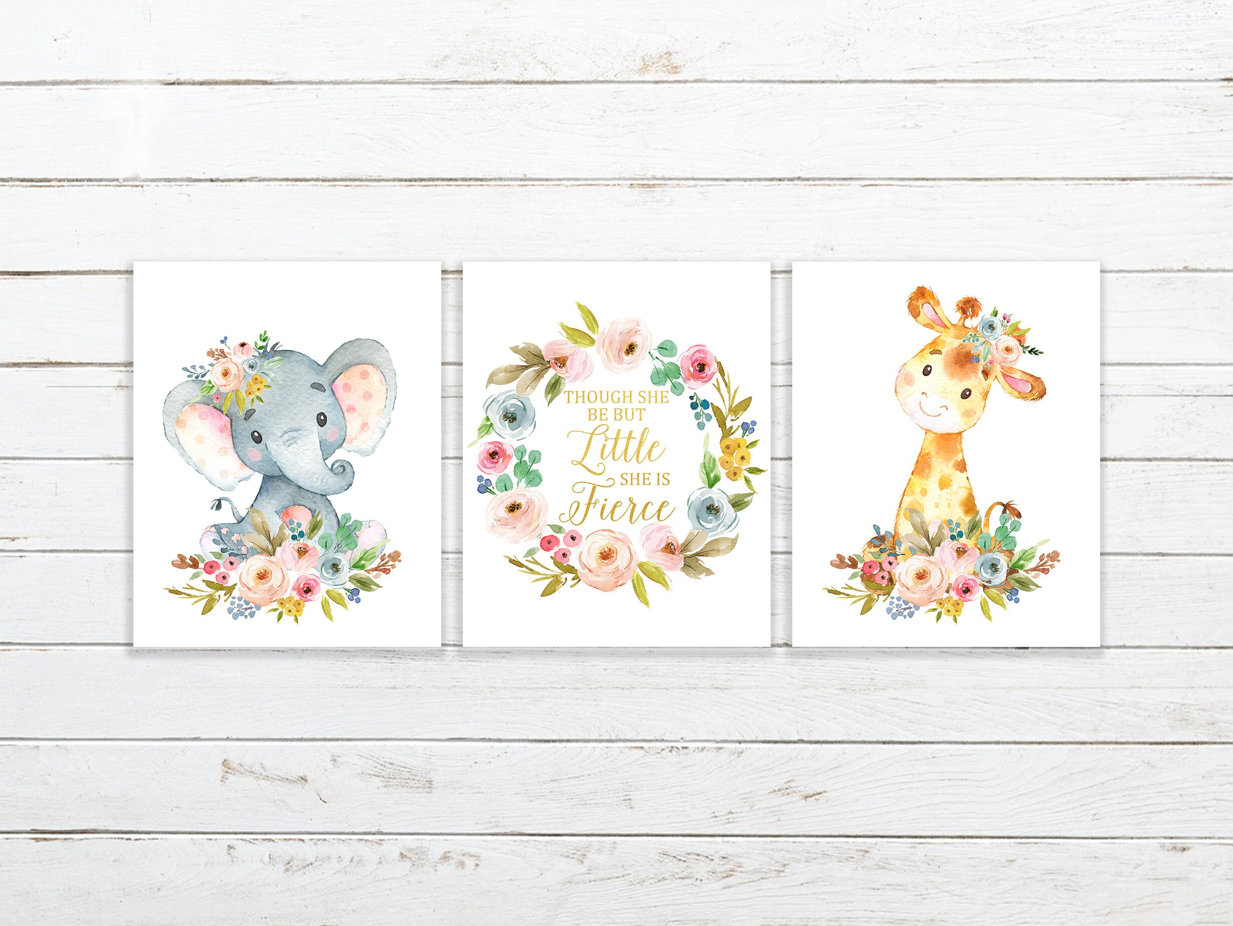 Nursery Prints Girl Nursery Print Set Woodland Print Girl Nursery Print Nursery Printable Though She Be Elephant Nursery Girl Nursery Art She Is Fierce Print