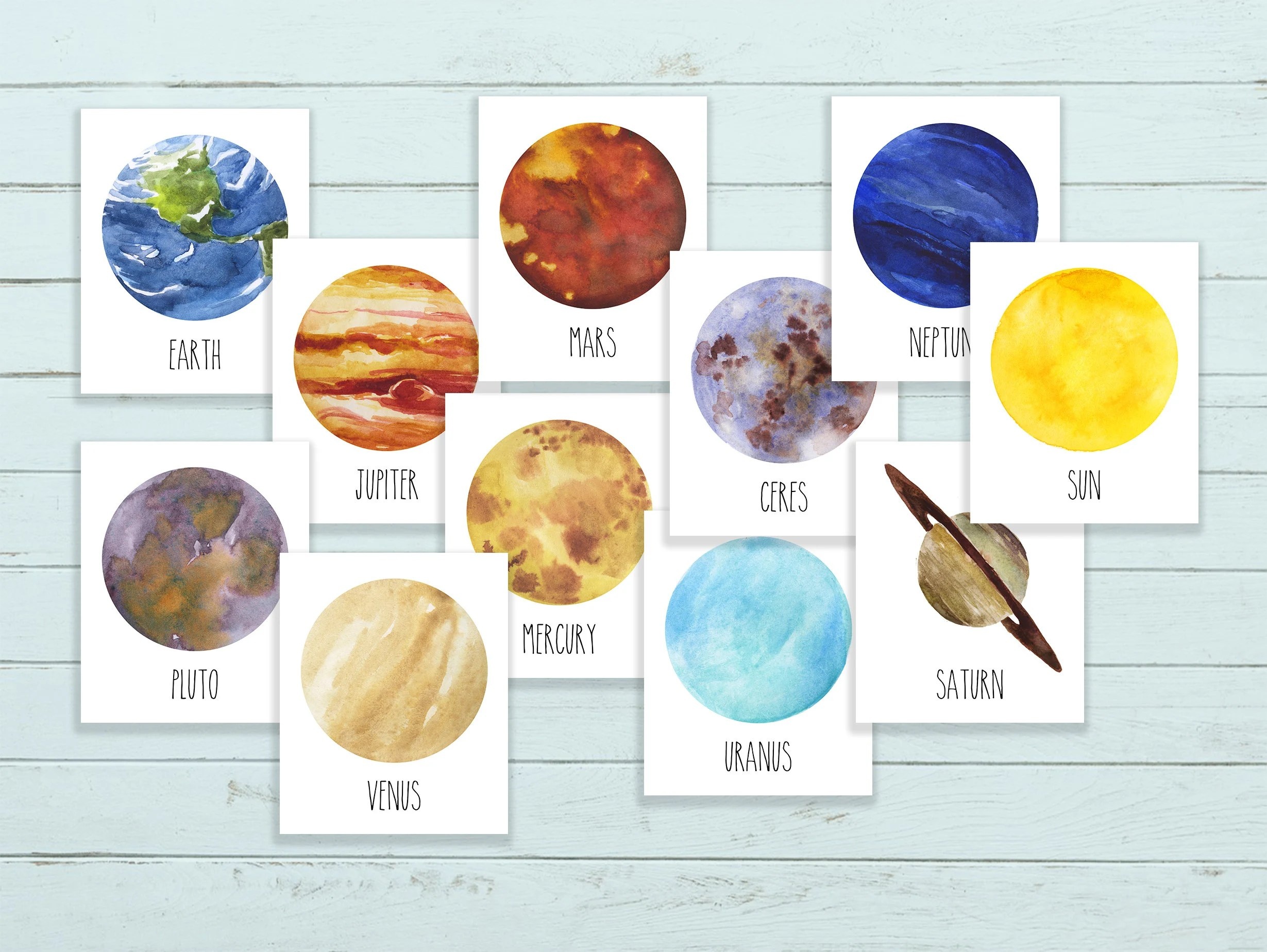 Planets Wall Art Planet Print Set Solar System Set Planet Wall Art Astronomy Decor Planet Printables Watercolor Planets Space Nursery Prints Science