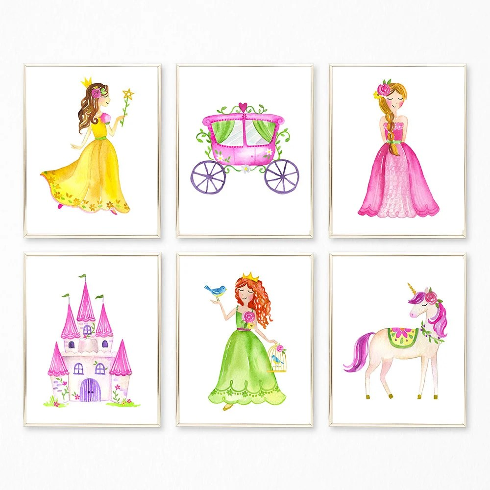 Nursery Prints Girl Princess Prints Girls Nursery Print Set Nursery Wall Art Baby Girl Decor Princess Art Princess Printables Princess Castle Carriage