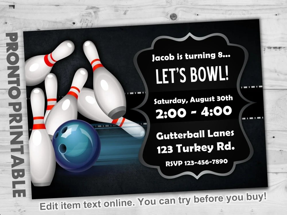 Bowling Party Invitations Bowling Birthday Party Invitations Etsy
