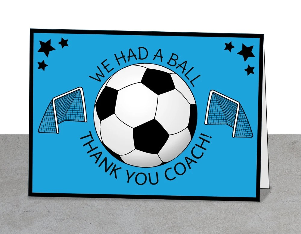 Soccer Thank You Card Soccer Coach Coaches Instant Etsy