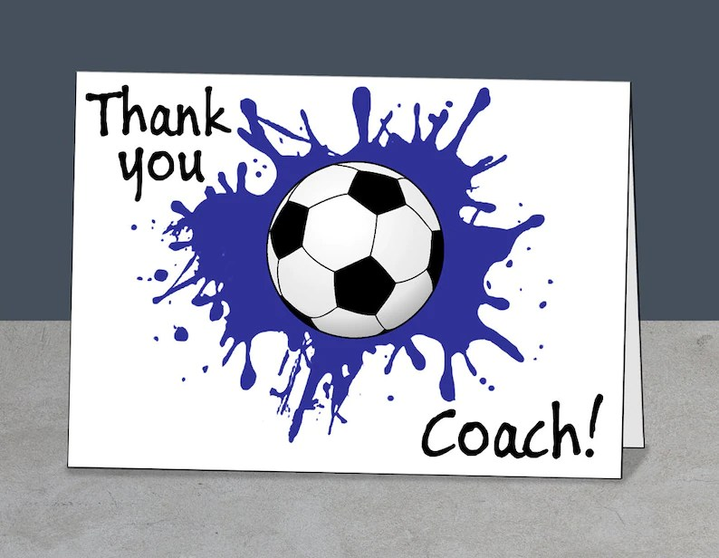 Soccer Thank You Soccer Coach Card Coach Gift Instant Etsy