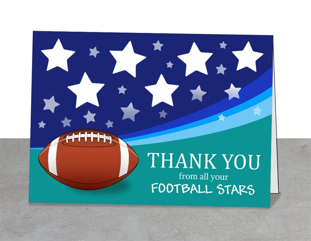 Football Thank You Card Football Printable Coach Gifts Etsy