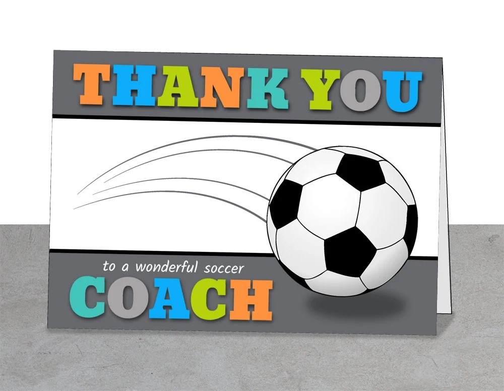 PRINTABLE Team Thank You Card for Soccer Coach Instant Etsy