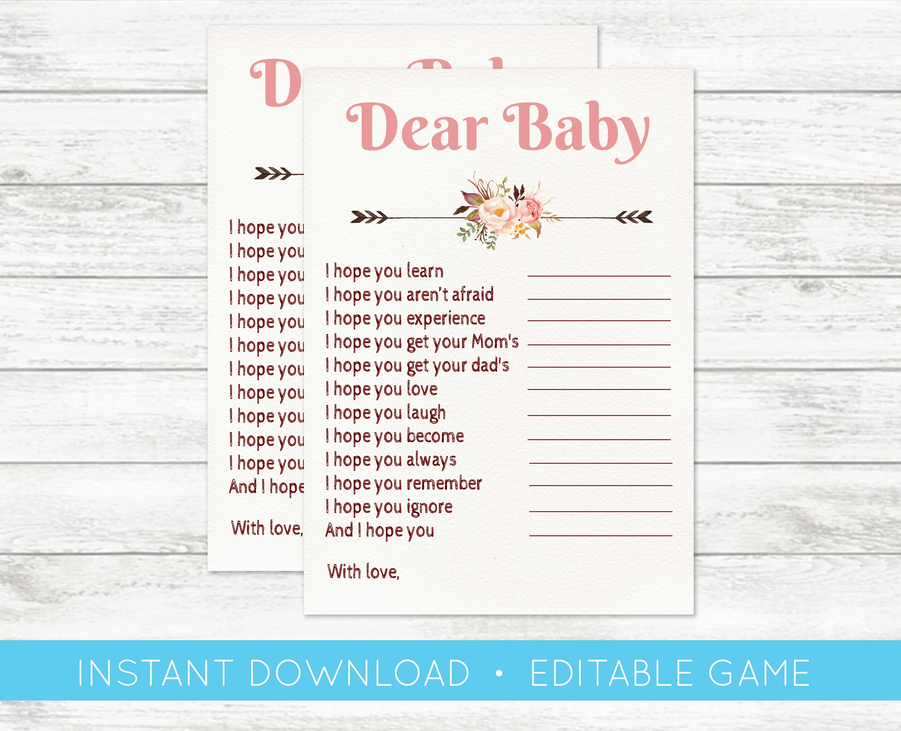 EDIT YOURSELF Baby Shower Game Dear Baby Card Baby Shower Etsy
