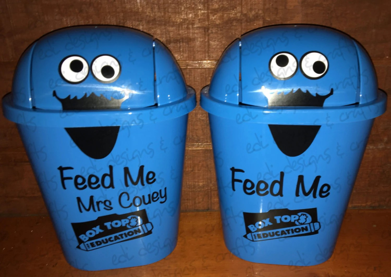 Fun Trash Can Feed Me Personalized Mini Trash Can Teacher Appreciation Gift Back To School Student Education Waste Basket Collect Money For Your School