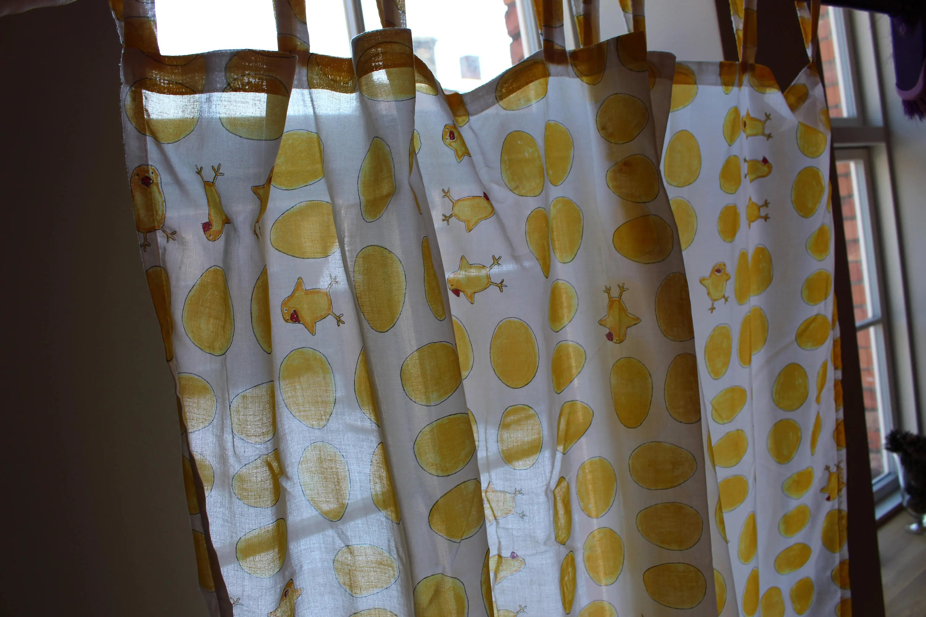 Kids Curtain Fabrics Vintage Ikea Fabric Easter Curtains 2 Pieces Nursery Curtains Children Panel Curtains Cotton Easter Table Cute Chicks Kids Room
