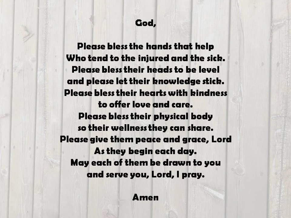 Hand Blessing Photo Poem Print Downloadable Nurse Blessing Etsy