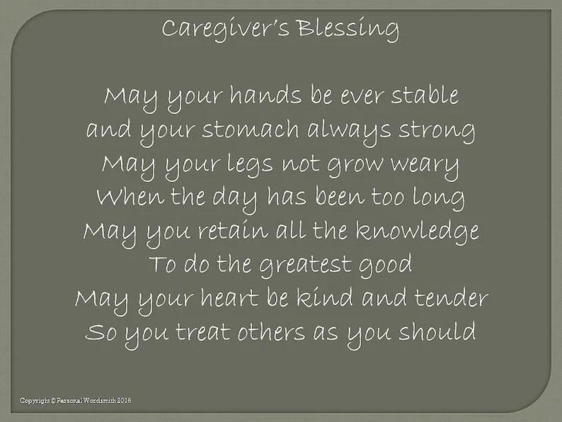 Caregiver\u0027s Blessing Prayer for the Caregiver Etsy