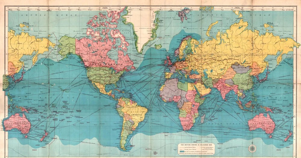 Antique digital World map print Colorful printable world map Etsy