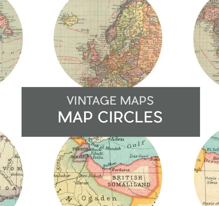Printable Map circles Vintage Maps planner sticker sheet Map Etsy