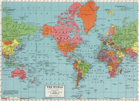 World map digital print PRINTABLE map poster Antique school Etsy