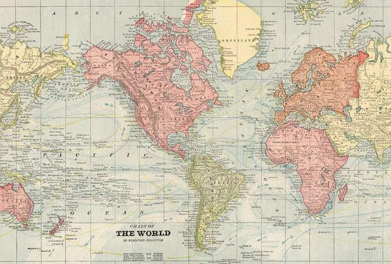 World map printable poster Vintage world map digital print Etsy