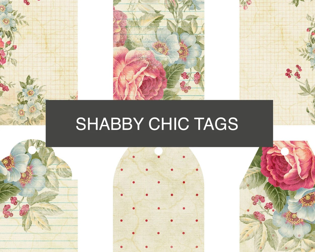 Floral printable gift tags Shabby Chic digital tags sheet Etsy