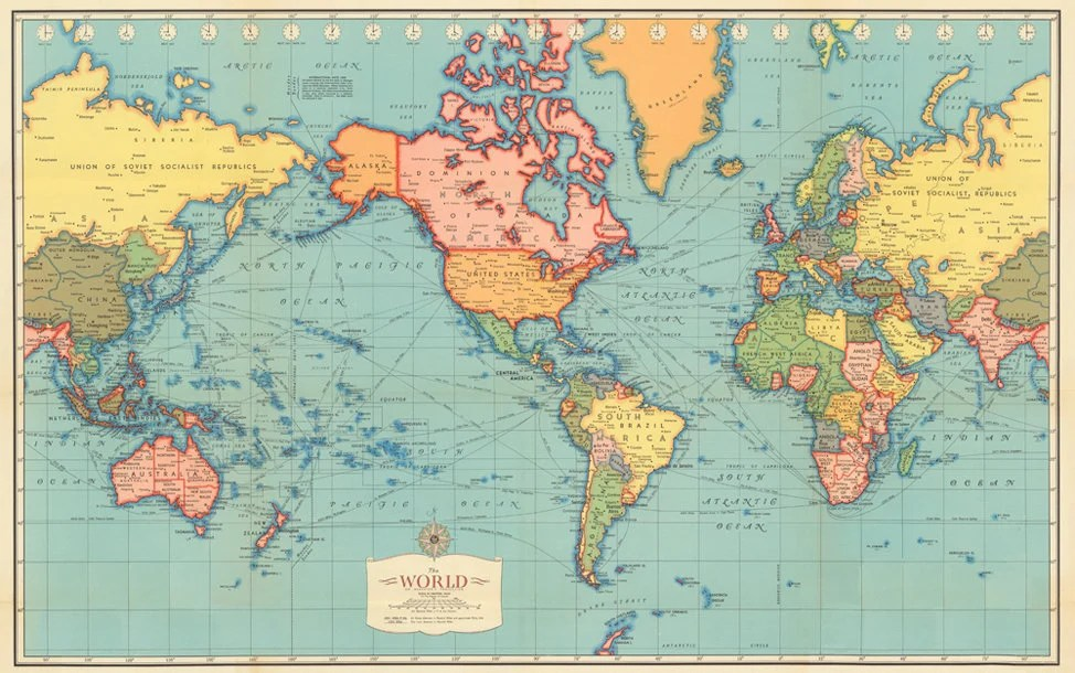 Antique World map digital print World map printable Vintage Etsy