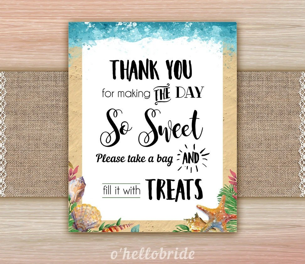 Printable Candy Bar Table Sign - Candy Buffet Sign - Beach Bridal