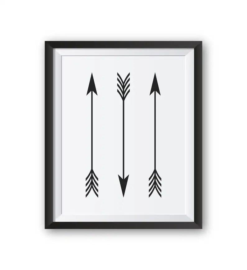 Arrow Print Black and White Prints Arrow Decor Printable Etsy