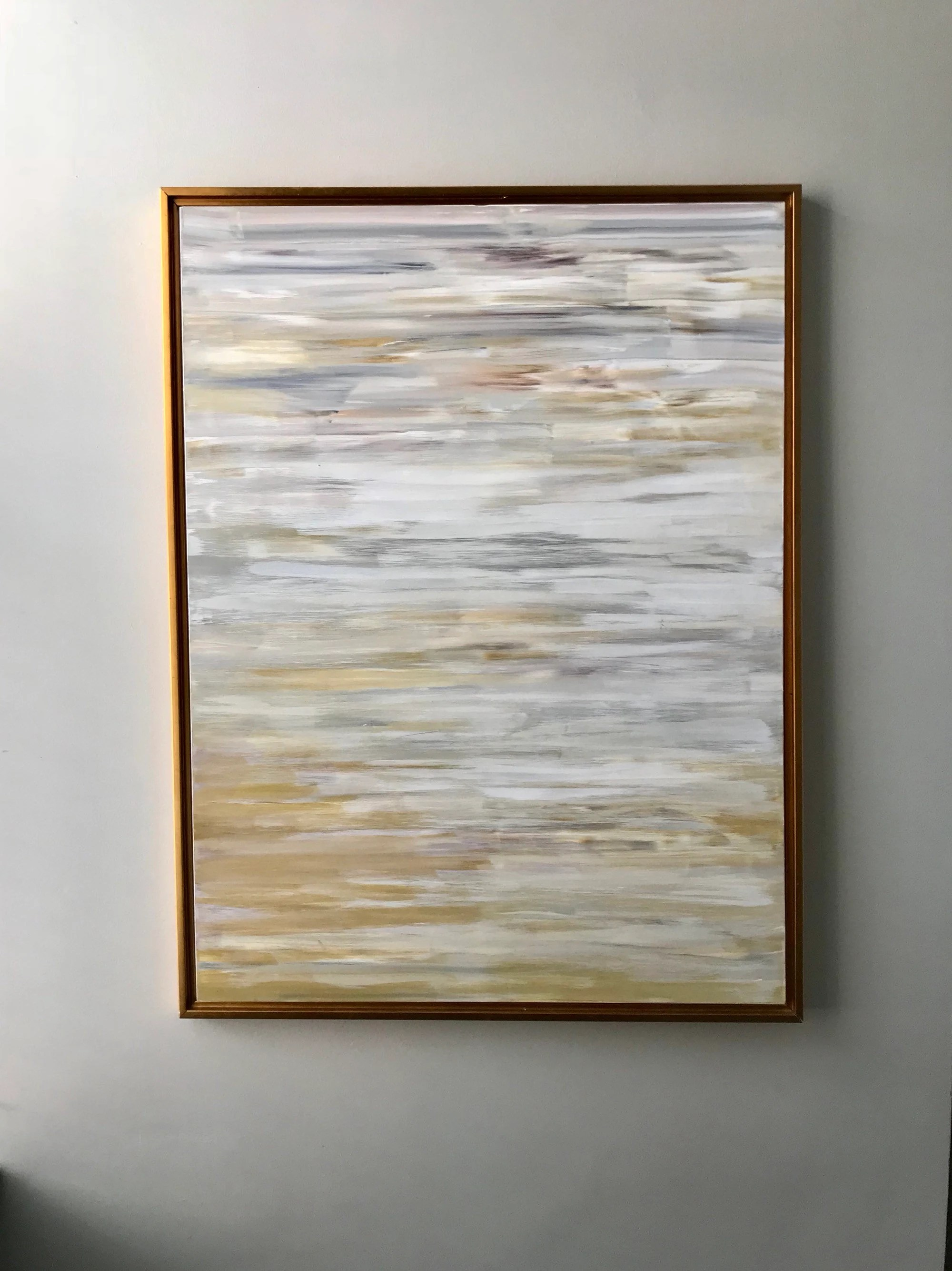 Foto 30x40 Large Original Abstract Modern Wall Art 30x40 Gold Grey Neutral Vertical Modern Frame Included