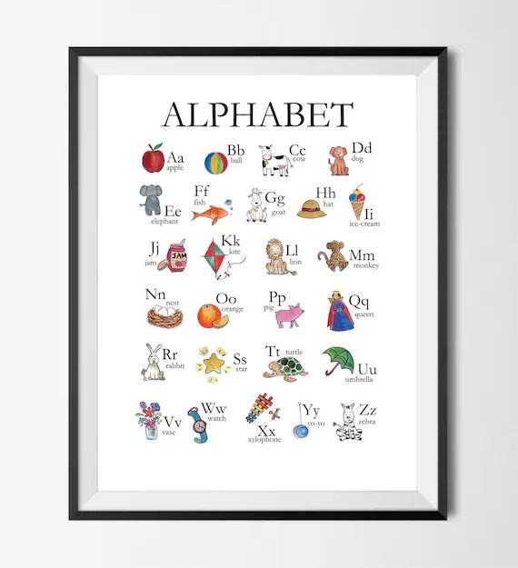 Alphabet Chart ABC Chart Watercolour Nursery art