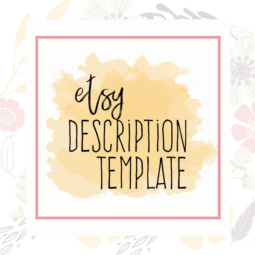 Etsy Description Template Etsy Product Template Etsy Help Etsy
