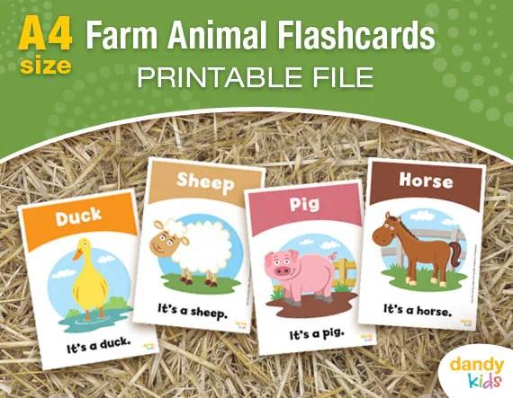 Farm Animal Flashcards / A4 / Printable Flashcards / Set of 12 Etsy