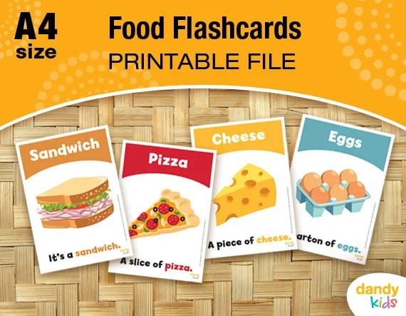 Food Flashcards / A4 / Printable Flashcards / Set of 14 / Etsy