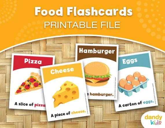 Food Flashcards / Printable Flashcards / Set of 14 / Etsy