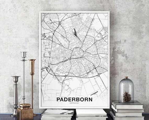 PADERBORN Germany map poster black white wall decor design Etsy