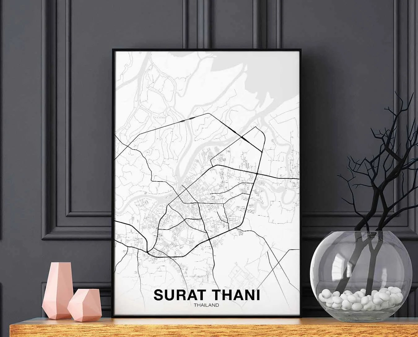 Arte Cucine Gdynia Surat Thani Thailand Map Poster Black White Wall Decor Design Modern Motto Swiss Scandinavian Minimal Nordic Housewarming Travel Bedroom