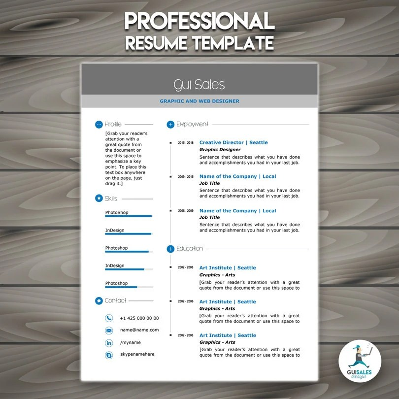 Professional Resume Template CV Template Mac or Pc Etsy