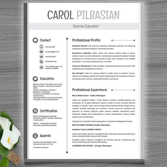 Teacher Resume Template CV Template PowerPoint EDITABLE Etsy
