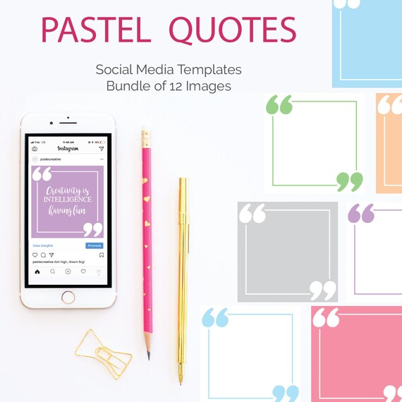 social media template bundle pastel quotes quotation Etsy